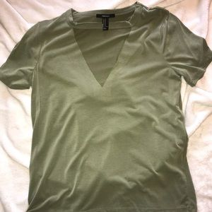 Olive Green V Neck Cut Out Tee